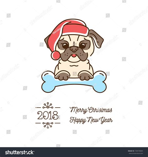 year of the pug pug year 2018 stock vector 740978005