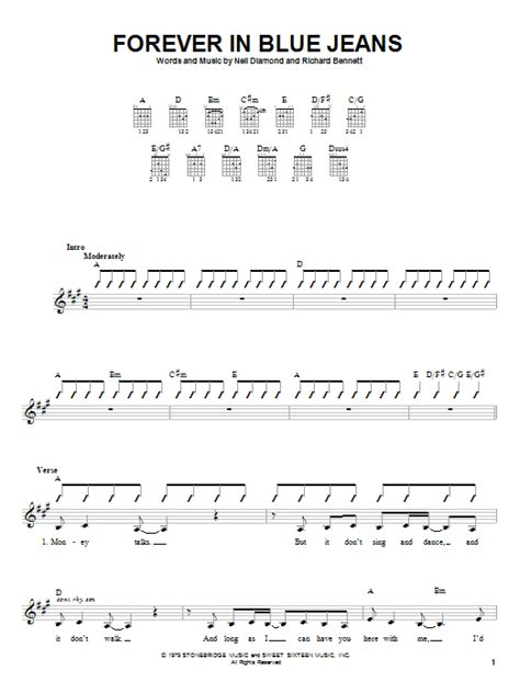 strumming pattern tangled up in blue forever in blue jeans sheet music by neil diamond guitar
