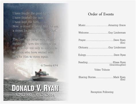 memorial ideas funeral service program template