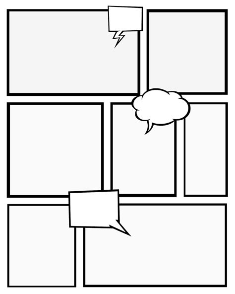 7 Best Images Of Comic Book Templates Printable Free Printable Comic Strip Paper Comic Strip Book Template