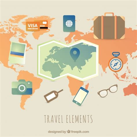 Elements Of My Vacation travel elements with flat design vector free