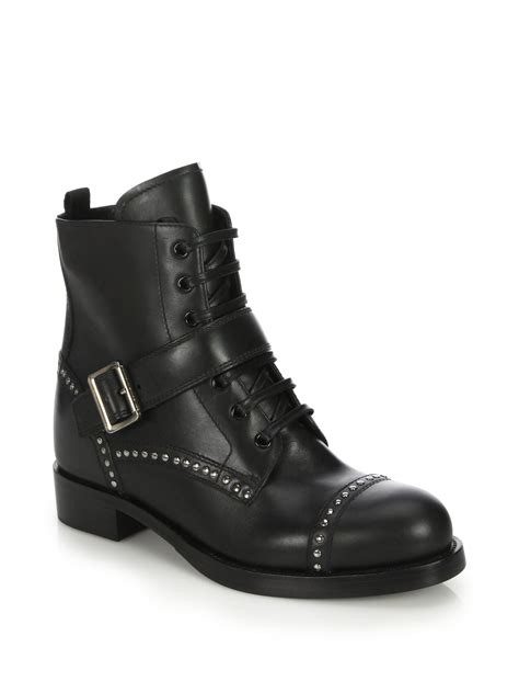 studded boots for lyst prada studded leather ankle boots in black