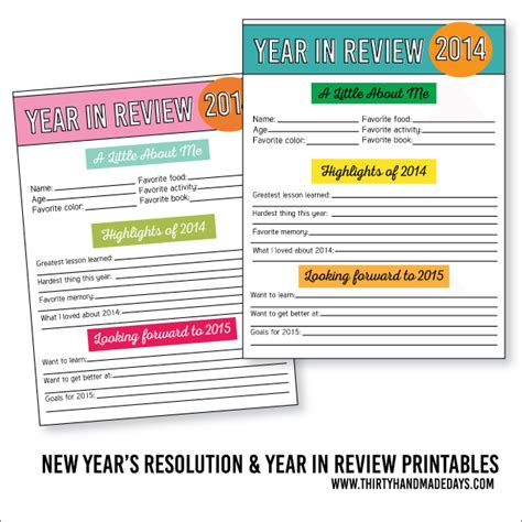 new year reviews 20 new years free printables lolly
