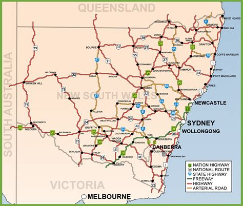 printable nsw road map new south wales road map