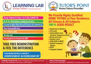 Home Tuition Board Design about the academy tutors point