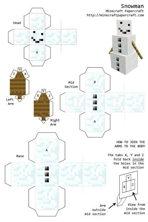 Papercraft Snowman - minecraft papercraft snowman mindcraft