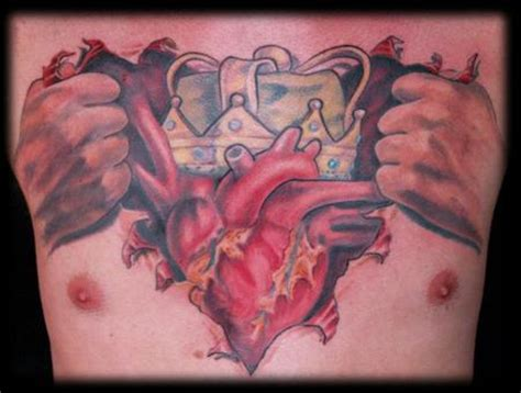 rip heart tattoo designs realistic ripped skin king on chest