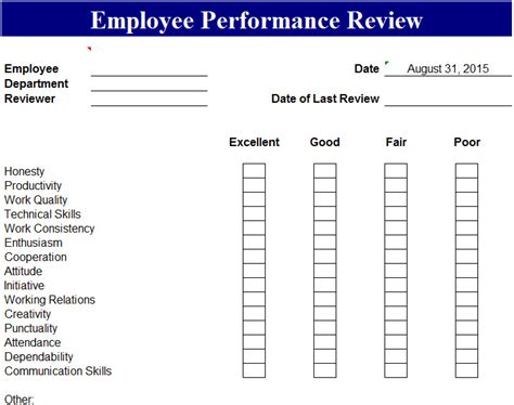 employee evaluation form performance review rocket lawyer