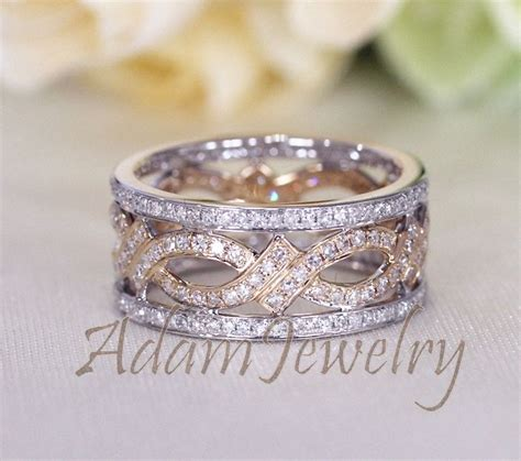 unique eternity band 1 05ct diamonds 14k two tone gold