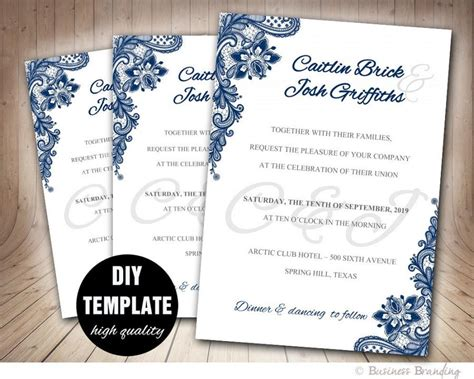 blue themed wedding invitations navy blue wedding invitation template diy instant