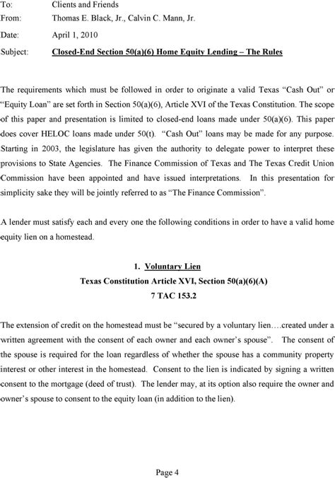 texas section 50 a 6 home equity mortgage lending in texas by thomas e black