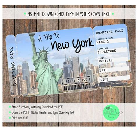 will template new york printable ticket to new york boarding pass customizable