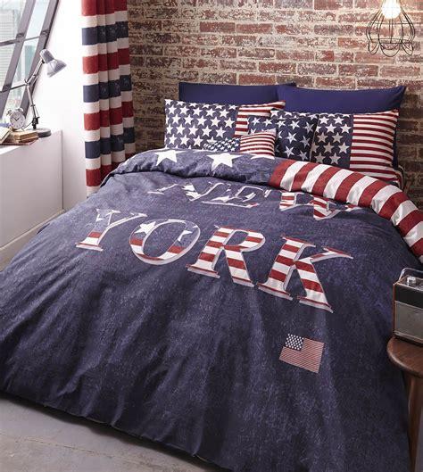 Bed Cover Set America Uk 120x200 new york bedding duvet cover usa stripes white