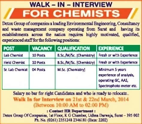 Detox Manager Salary by Senior Lab Chemist Surat Healthcare