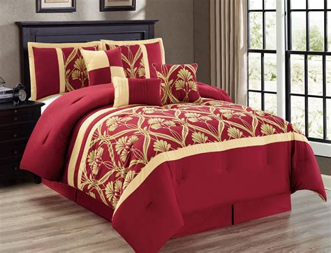 queen bed in a bag sets 11 piece perris burgundy gold bed in a bag set