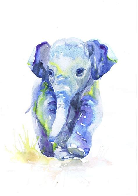 baby elephant watercolor painting baby boy nursery decor elephant print wall
