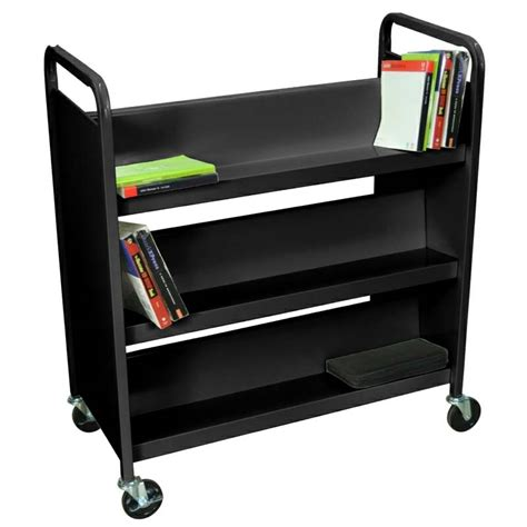 Electric Tv Fireplace Stand by Luxor 2 Sided Steel Rolling Library Book Cart Black Or