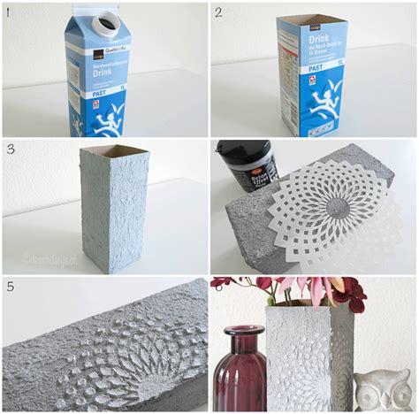 Betonlook Selber Machen diy mit bettoneffektpaste aus einem alten tetra pak eine