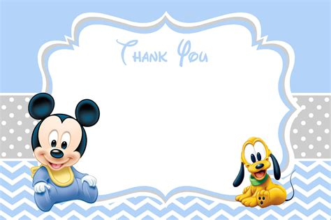 mickey mouse thank you card template baby mickey mouse baby shower thank you card