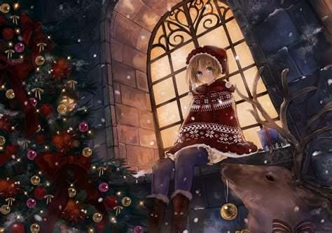 wallpaper christmas new year anime snow christmas tree