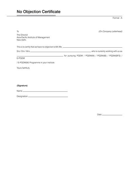letter of objection template noc letter format for passport best template collection
