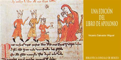 libro libro de apolonio letras una edici 211 n del quot libro de apolonio quot nicasio salvador