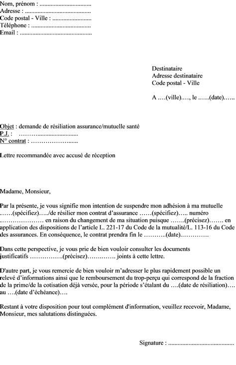 Exemple De Lettre Résiliation Assurance exemple de lettre de r 233 siliation assurance sant 233 mutuelle