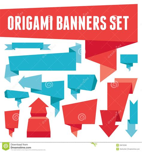 Origami Advertising - origami banners set stock photo image 29976290