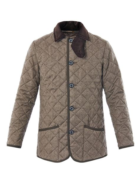 Mackintosh Quilted Jacket by Mackintosh Waverly Quilted Coat In Gray For Brown Lyst