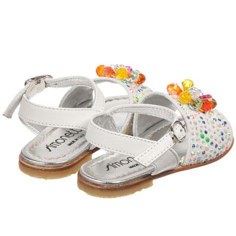 white beaded shoes simonetta white leather beaded sandals childrensalon