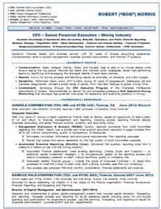 Cfo Resume Template by Resume Sles Chief Financial Officer Cfo Mining