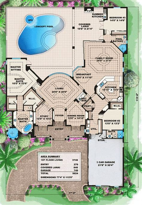 luxury florida house plans cascading roof lines