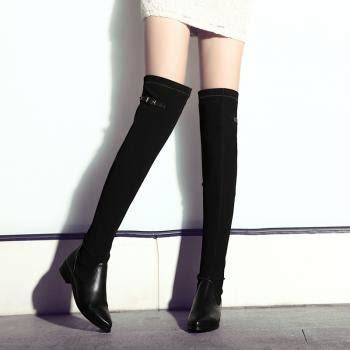 black boots stretch slim leather thigh high boots on luulla