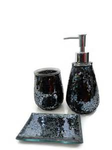 Glitter Bathroom Accessories Black Mosaic Crackle Glass Bathroom Accessory Set Tumbler Dispenser Soap Dish Glitter