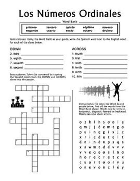 numeros ordinales ordinal numbers 1 10 crossword