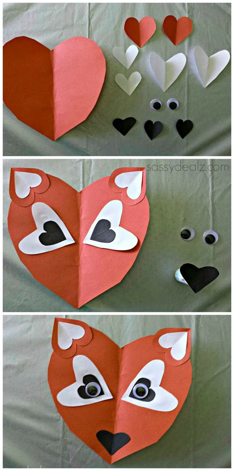Paper Valentines Crafts - paper fox craft for crafts crafts