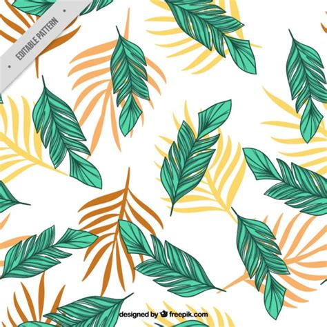 palm leaf pattern vector hand drawn palm leaves pattern vector free download