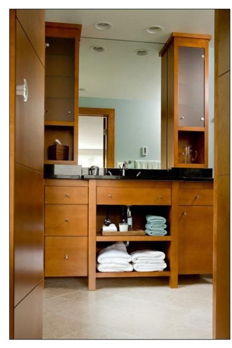 vanity w 2 tower cabinets contemporary bathroom
