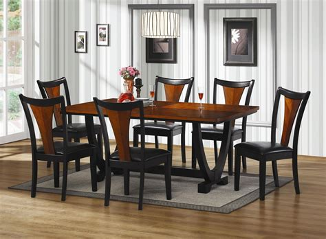 boyer black and cherry wood dining table set a