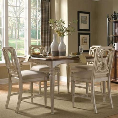 distressed dining sets furniture provenance 5 counter height dining set in distressed ivory traditional