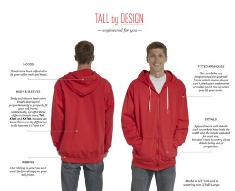 a unique size chart for and mens clothing