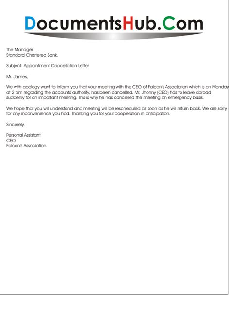 apology letter for cancellation of contract meeting cancellation letter sle documentshub