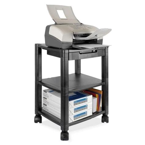 desk side printer stand kantek ps540 desk side 3 shelf moblie printer fax stand