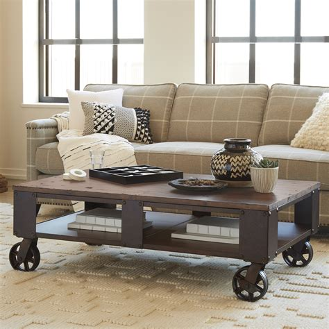 outdoor table on casters magnussen t1755 pinebrook wood rectangular coffee table