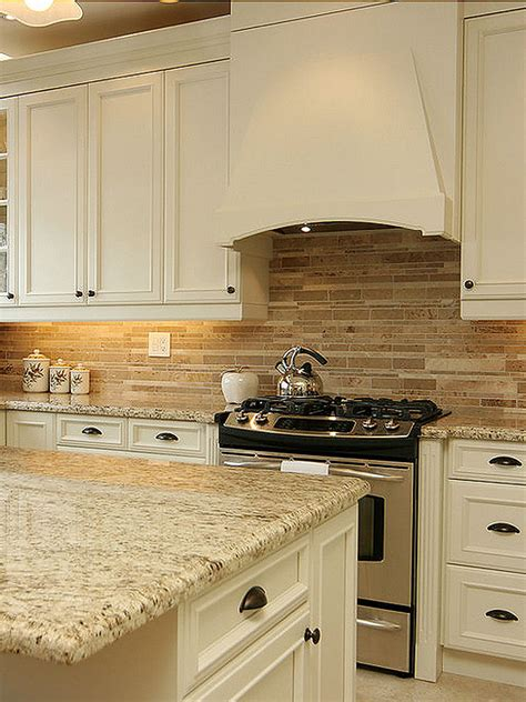 travertine subway mix backsplash tile for kitchen