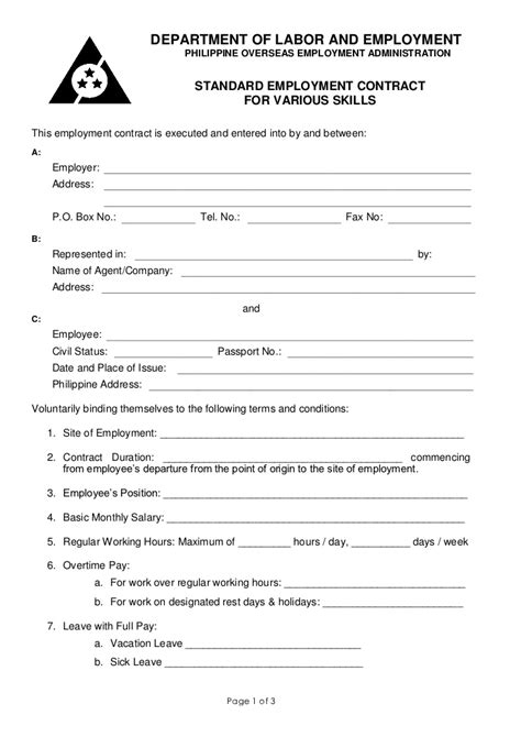 Poea Standard Employment Contract For Various Services Generic Employment Contract Template