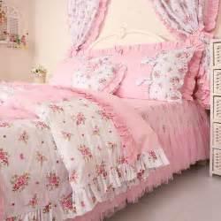 floral duvet sets pink princess lace ruffle bedding sets rustic floral print