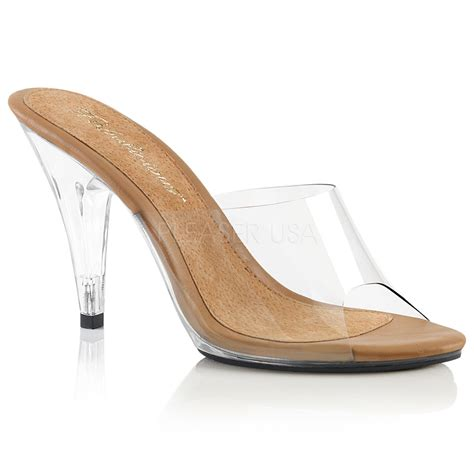 clear sandals heels fabulicious caress 401 s 4 quot heel slide on sandal
