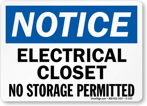 electrical closet no storage permitted sign sku s 1137