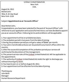 Appointment Letter Sample For Hr Executive Business Communication Write An Appointment Letter To A